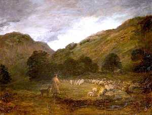 David Cox The Elder - montanhoso paisagem  norte  país de gales