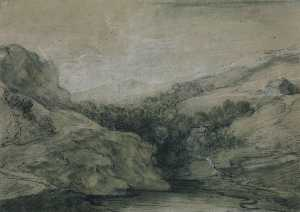 Thomas Gainsborough - paisagem de montanhas com  piscina