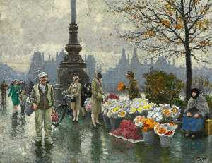 Paul Gustave Fischer - flowersellers at dr . Louises Mano ( Rainha Louise's Ponte ) em copenhague
