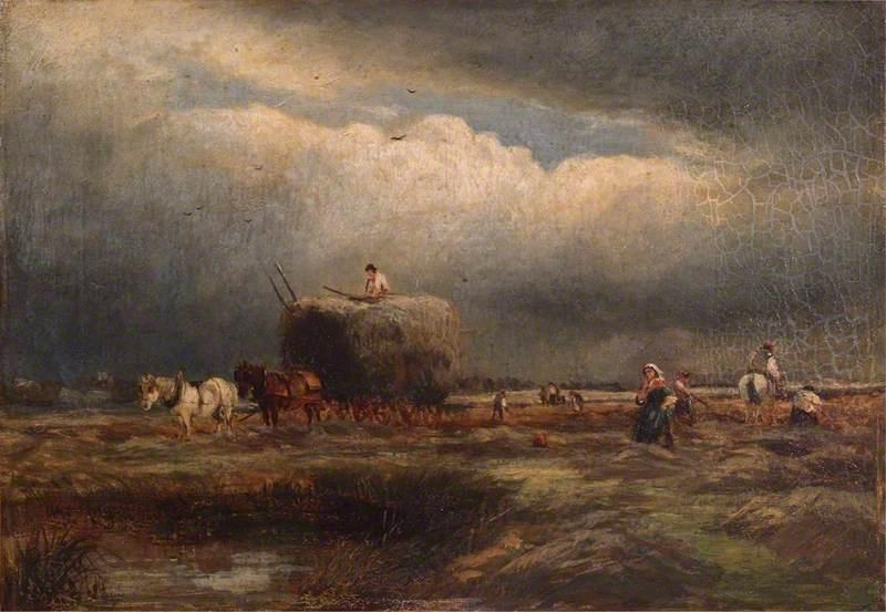 O vagão do feno, óleo sobre tela por Samuel Bough (1822-1878, United Kingdom)