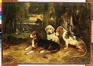Alexandre Gabriel Decamps - CHIENS O CHASSE AU REPOS
