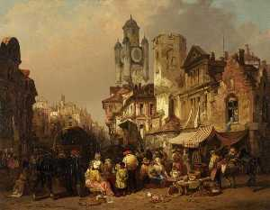 Henry Courtney Selous - mercado cena , Bergues , Na frança