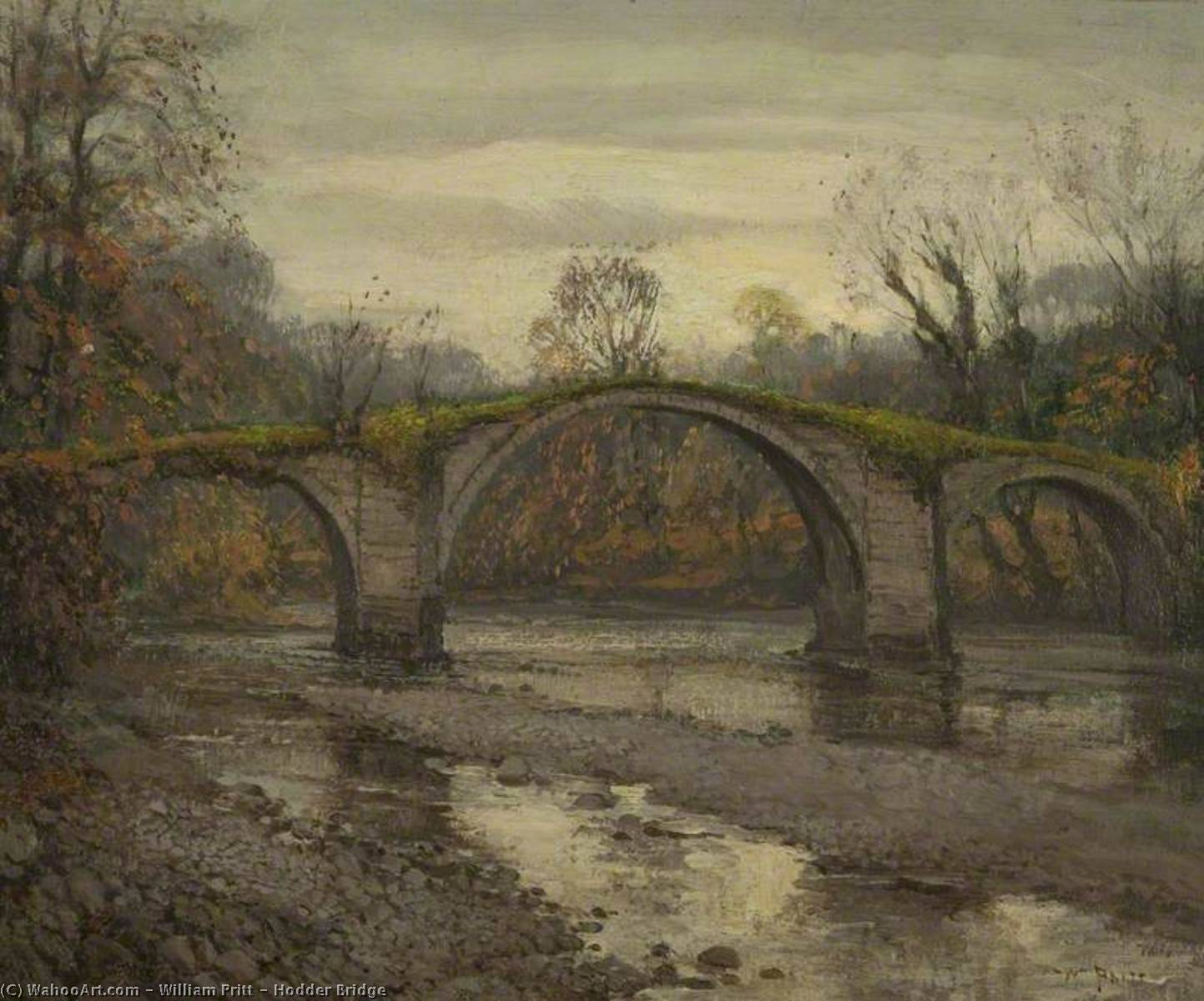 Hodder Ponte, óleo sobre tela por William Pritt
