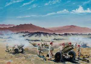 David Anthony Le Cheminant - live firing , Palestina , 75mm Howitzers dos 210 Acumulador , 53rd airlanding light regiment Real Artilharia , Setembro 1946