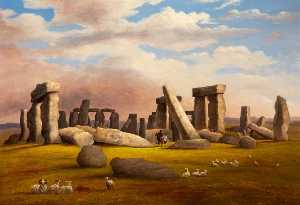 Richard Tongue - carneiros que pastam , Stonehenge